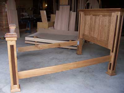 Custom Amish Made Mission Bed with Walnut Inlays