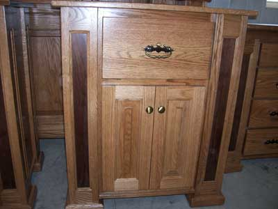 Custom Amish Made Oak Mission Nightstand or Endtalble with Walnut Inlays