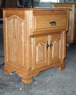 Custom Amish Made Oak Sculpted Nightstand or Endtalble