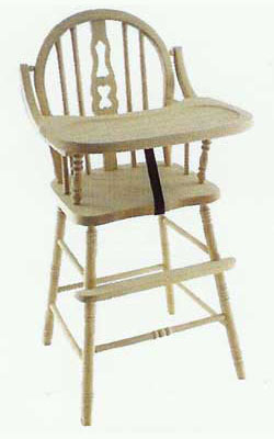 Amish Made Childrens Fiddle Back High Chair