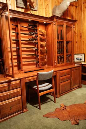 Locally Amish Custom Made Gun Cabinet Wall Unit Close Up of Seating Area