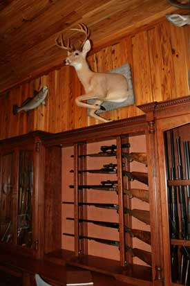 Locally Amish Custom Made Gun Cabinet Wall Unit Close Up of Center Gun Rack