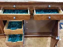 Full Extension Gun Cabinet Drawers with Felt Lining.