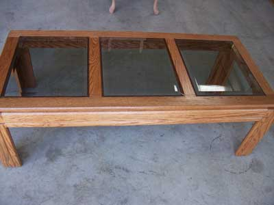 Locally Amish Custom Crafted Glass Top oak Coffee Table