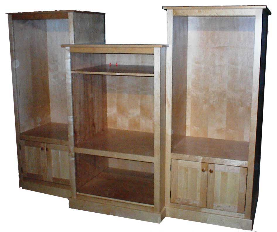 Custom Amish Made Natural maple 3 piece Entertainment Center
