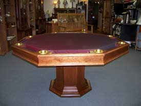 Locally Amish Custom Made Poker Table with Mission Hexagon Platform Pedestal