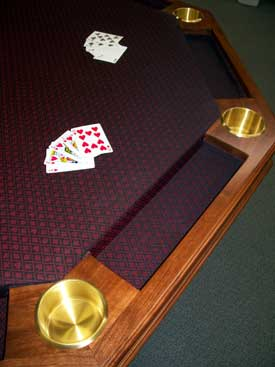 Locally Amish Custom Made Poker Table with Water Resistant Suited Cloth Chip Trays