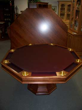 Locally Amish Custom Made Poker Table Made by local Amish Craftsmen