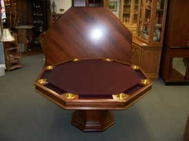 Locally Amish Custom Made Poker Table with Solid Cherry Dining Top Displayed Behind