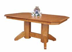 Clipped coener double pedestal dining table with mission base.