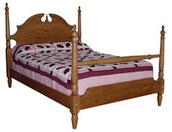 Solid Oak Amish Made Crown Bed